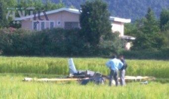 اولین تصاویر از سقوط هواپیمای تفریحی در نمک آبرود، به همراه تصاویر لاشه هواپیما
