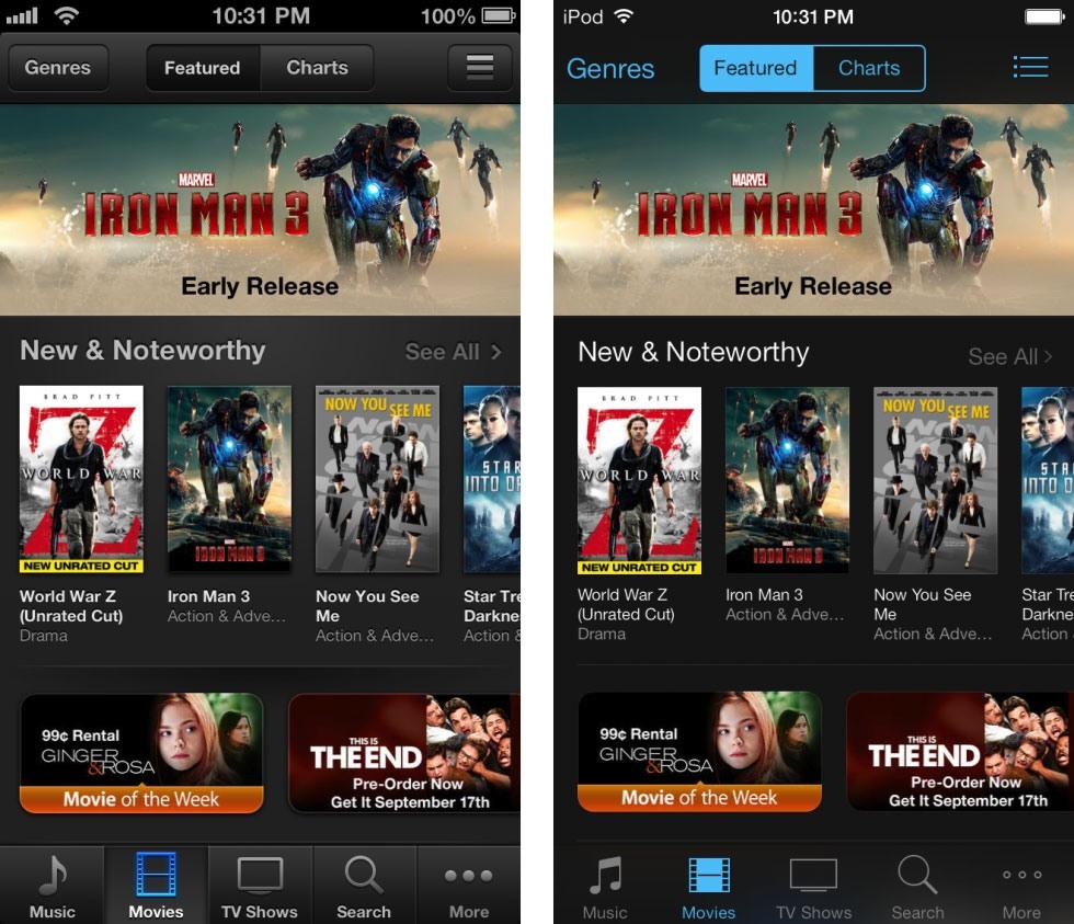 13 9 19 12216itunes 980x843 - تصاویری از تفاوت نسخه های 6 و 7 سیستم عامل iOS