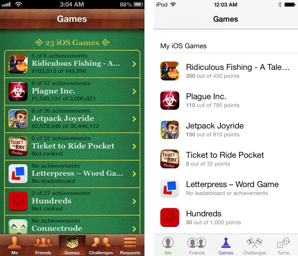 13 9 19 122228game center 2 980x843 - تصاویری از تفاوت نسخه های 6 و 7 سیستم عامل iOS