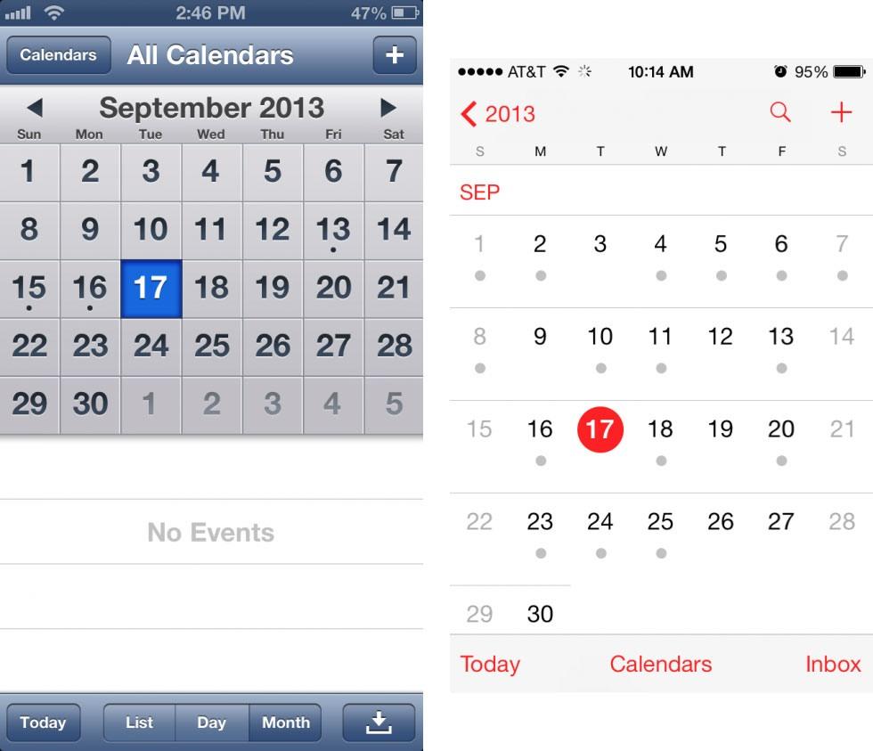 13 9 19 12825calendar 980x843 - تصاویری از تفاوت نسخه های 6 و 7 سیستم عامل iOS