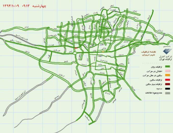 نقشه ترافیکی تهران 9 دی