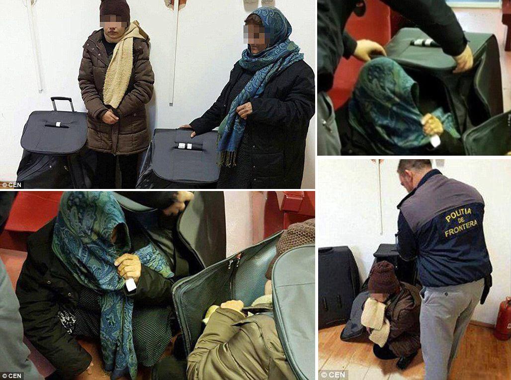 عکس | بازداشت دو زن پنهان شده در چمدان