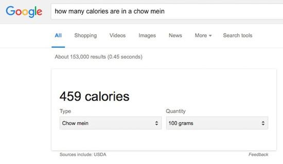 ارزش غذایی هر وعده غذایی تان را از گوگل بپرسید