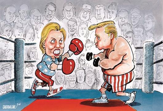 کاریکاتور/ بزن بزن هیلاری و ترامپ!