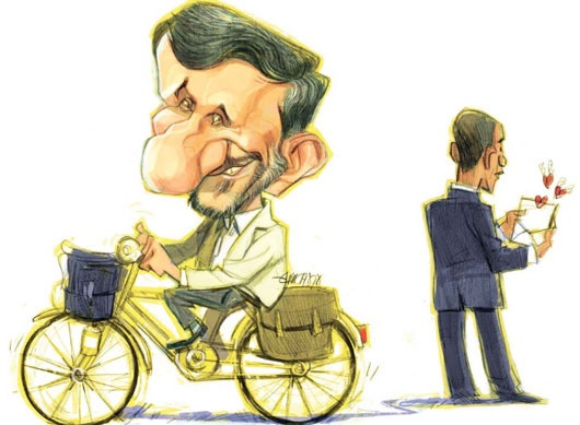 کاریکاتور با موضوع نامه احمدی نژاد به باراک اوباما