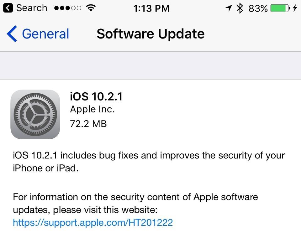 17 1 24 16835iOS 10.2.1 - تغییرات جدید در آی او اس، مک او اس، واچ او اس و تی وی او اس اپل