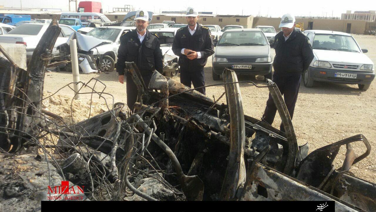 مرگ سه نفر در آتش پراید/ اجساد قابل شناسایی نیست + عکس