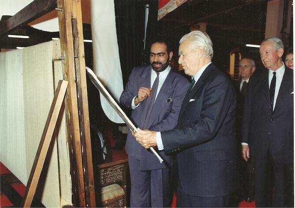 حسین امینیان ندوشن و ژاک شابان دلماس. نخست وزیر سابق فرانسه