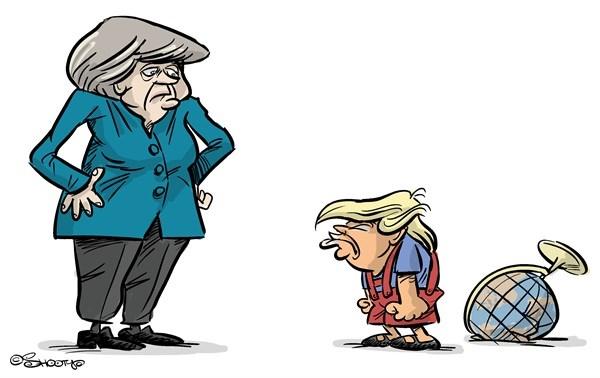 تصویر منتشرنشده از دیدار مرکل و ترامپ!