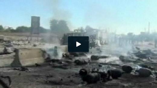 صحنه انفجار خودروی بمب گذاری شده در شهر حما در سوریه