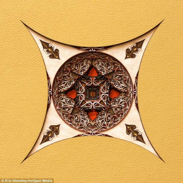 ترکیب معماری اسلامی، یونانی و گوتیک با لیزر روی کاغذ