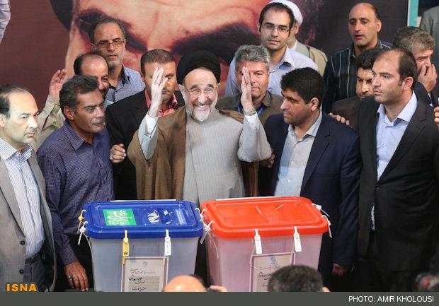 آیتالله هاشمی شاهرودی، سیدحسن خمینی، سیدمحمد خاتمی و حدادعادل پای صندوق رای