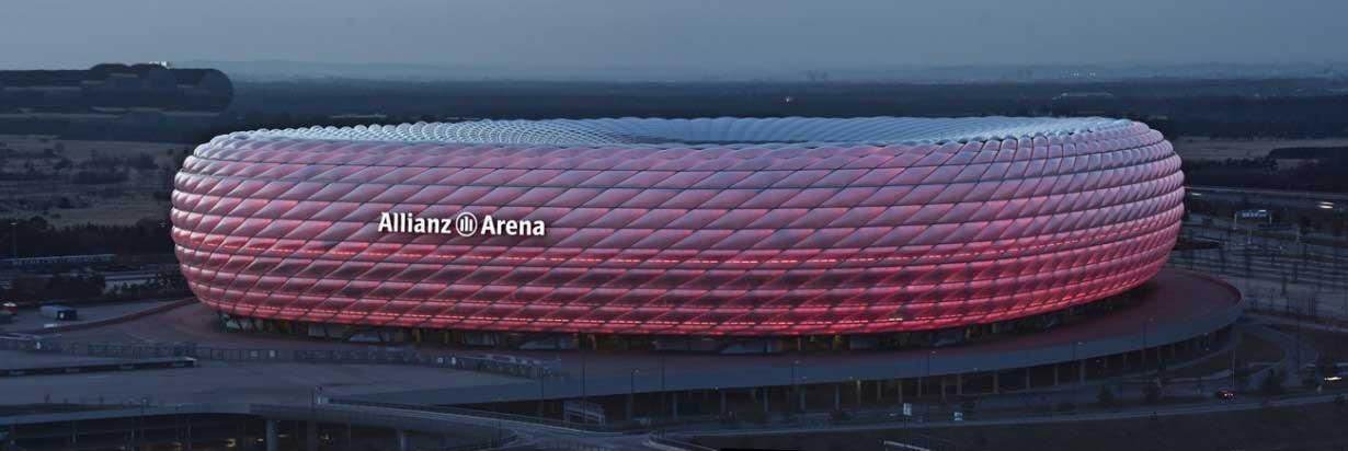 نمای بیرونی و زیبای استادیوم مونیخ