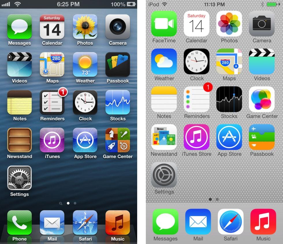 تفاوت های سیستم عامل آی او اس 6 و 7 اپل را در اینجا ببینید