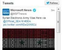 هک شدن حساب کاربری مایکروسافت در توئیتر توسط ارتش الکترونیکی سوریه