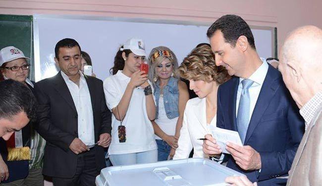 بشار و اسماء اسد پای صندوق رای