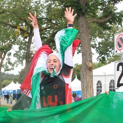 حضور تنها زن ایرانی با حجاب اسلامی در مسابقات سه گانه کانادا