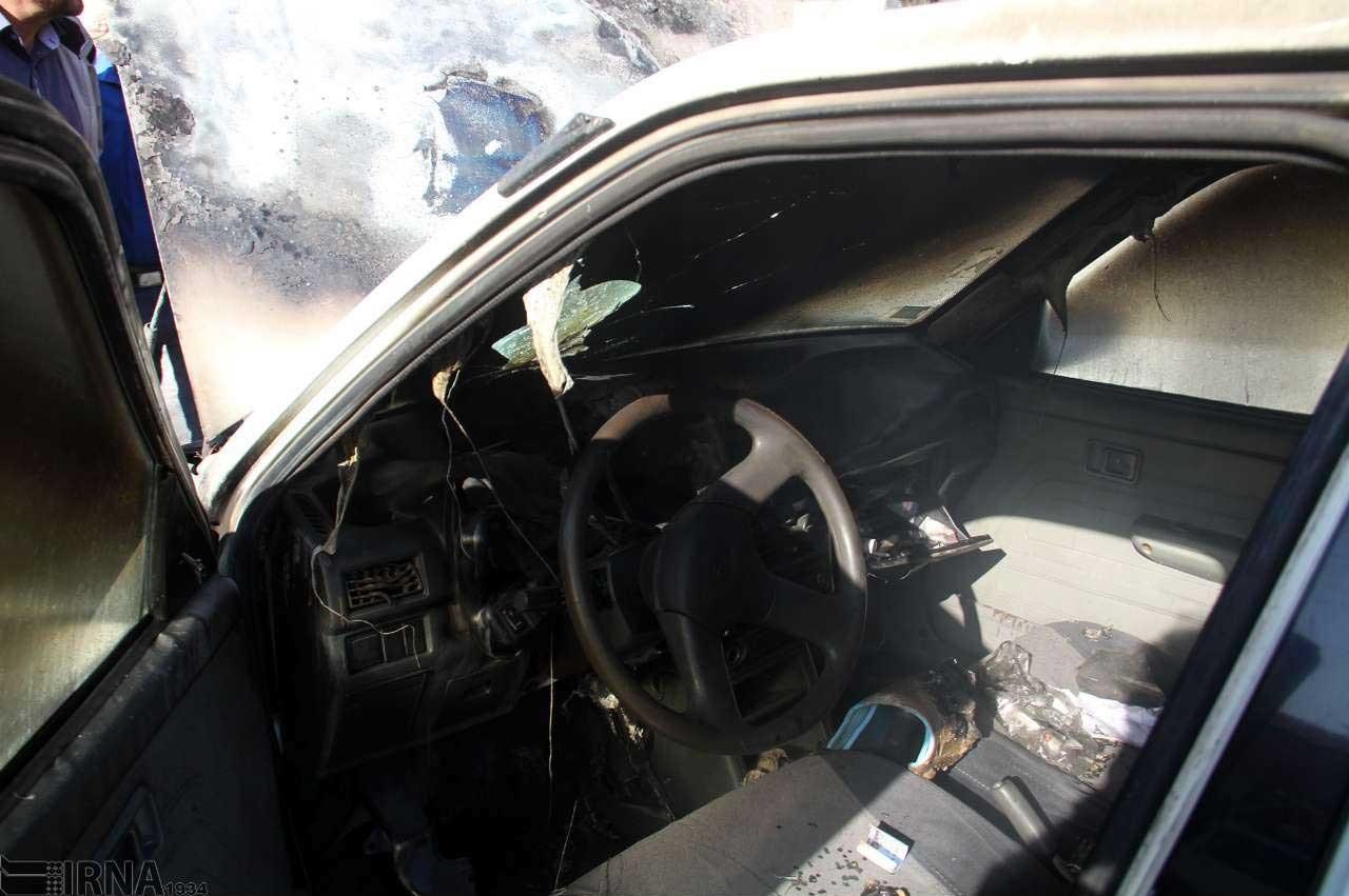 تصاویری از انفجار یک خودروی پراید