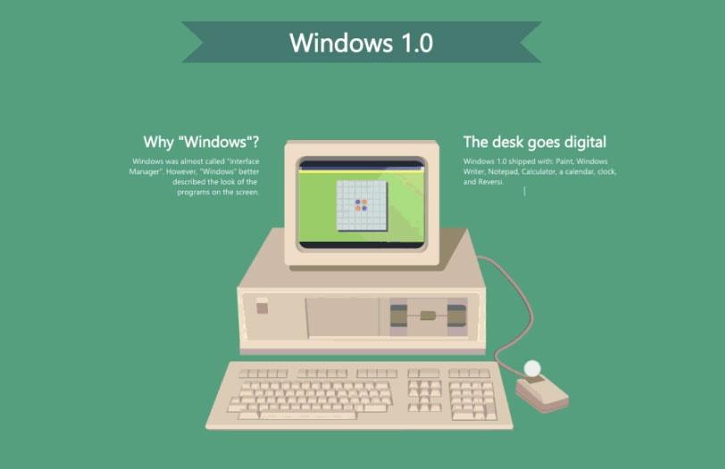 تاریخ سیستم عامل ویندوز از «ویندوز1» تا «ویندوز 10» را در این یک عکس ببینید
