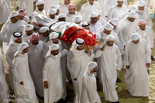 تشییع جنازه فرزند جوان حاکم دبی که در یمن کشته شد