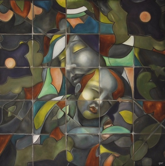 نقاشی که از کاشیکاری ایرانی الهام میگیرد