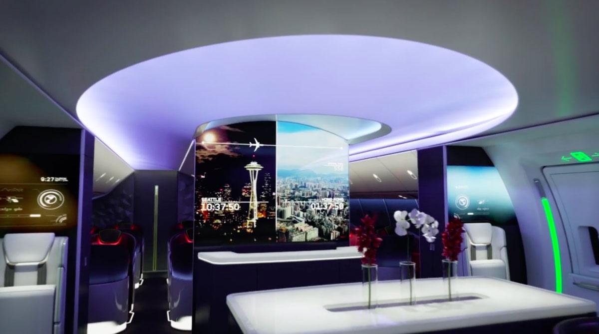 تصاویری از طراحی رؤیایی داخل بوئینگ: مملو از ال ای دی و سیستم نورپردازی هوشمند