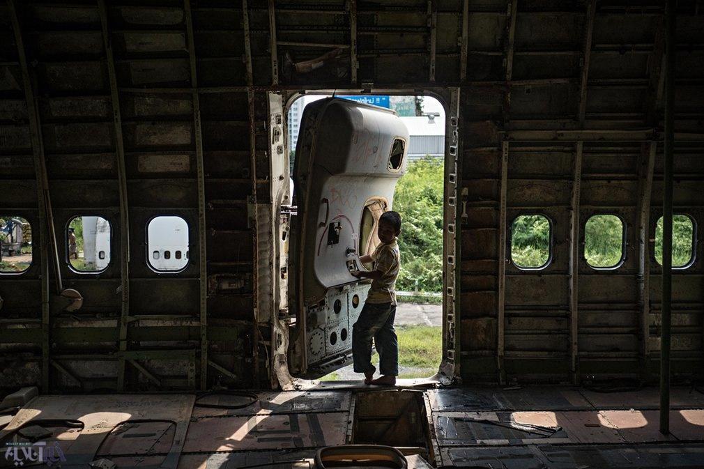 تصاویر | زندگی حاشیهنشینان تایلند در هواپیما