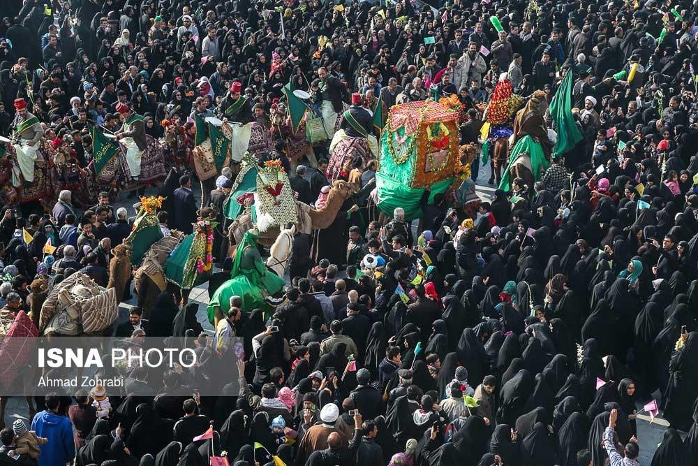 تصاویر | مراسم استقبال از ورود کاروان نمادین حضرت معصومه(س) به قم