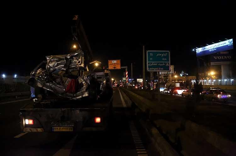 تصادف زنجیره ای در جاده مخصوص کرج,تصادف زنجیره ای در کرج,تصادف مرگبار