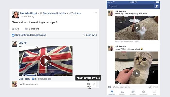 ارسال کامنت بهصورت ویدئو در پستهای فیسبوکی