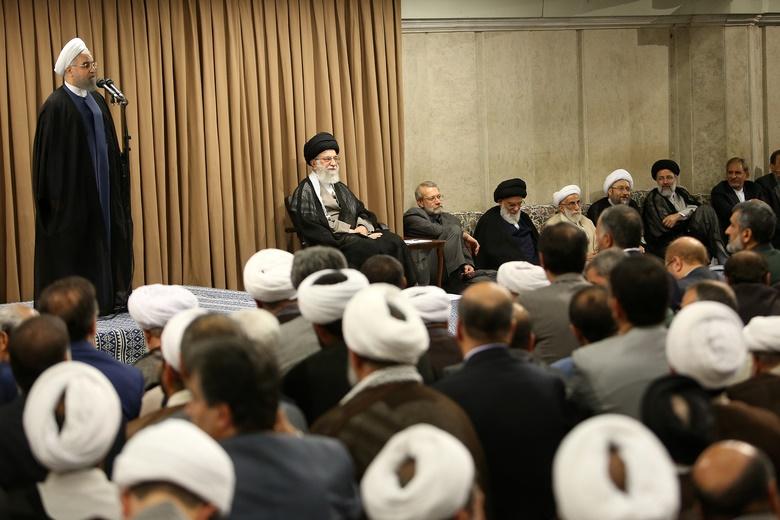 تصاویر همنشینی محسن رضایی با احمدینژاد و خوشوبش لاریجانی با آیتاللهجنتی در دیدار با رهبری