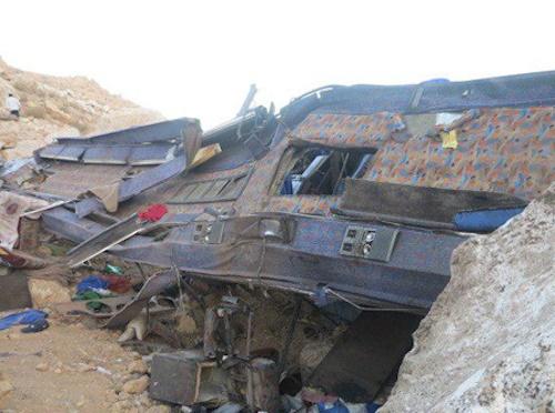 Image result for حادثه سقوط اتوبوس سربازان پادگان صفر پنج ارتش کرمان