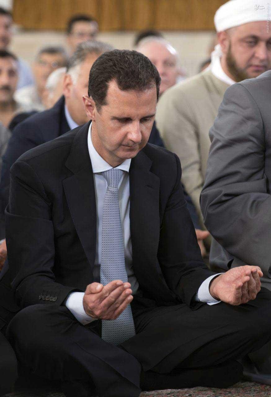 تصاویر   نماز عید فطر بشار اسد در شهر حمص