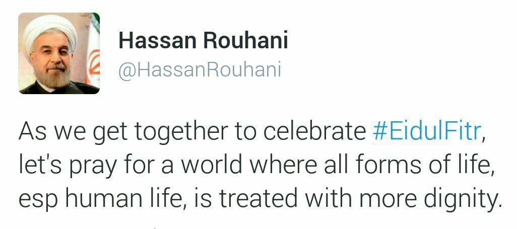 تبریک توئیتری روحانی به مناسبت عیدفطر/دعا کنیم جهانی داشته باشیم که جان انسانها دارای ارزش باشد