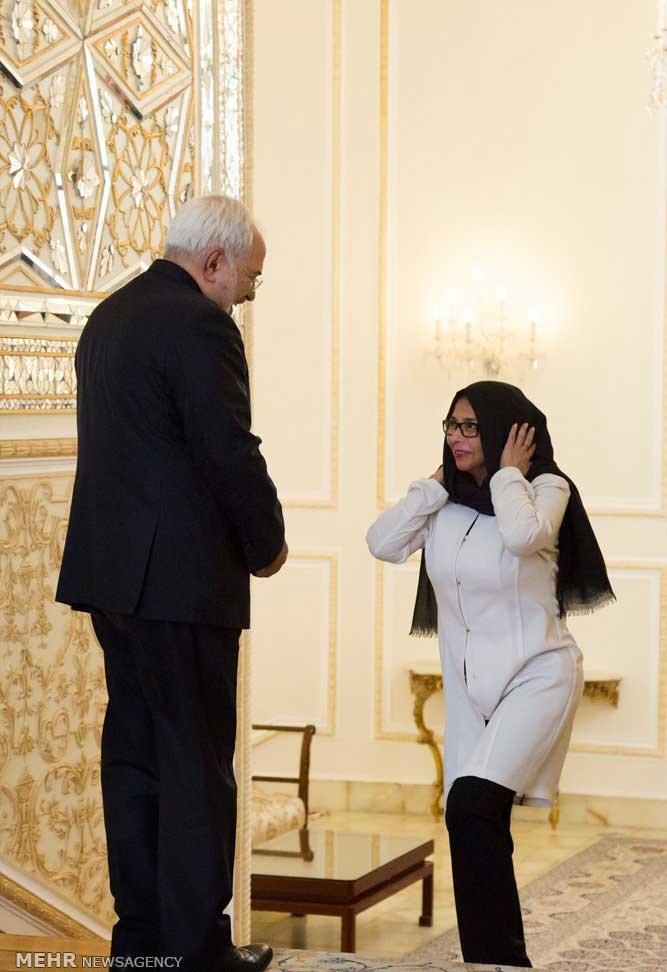 تصاویر | دیدار وزرای خارجه ایران و ونزوئلا | نوع پوشش وزیر خارجه ونزوئلا