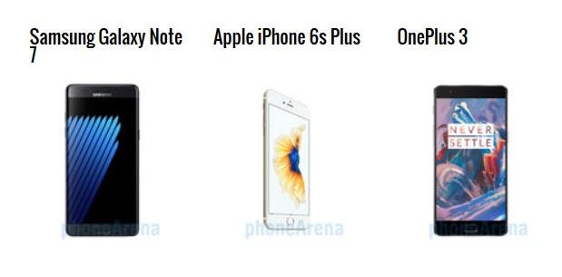 مقایسه فنی سه گوشی گلکسی نوت7، وان پلاس3 و آیفون 6 اس پلاس