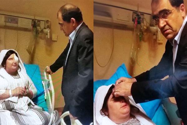 فیلم | حرفهای قربانی اسیدپاشی با وزیر بهداشت پس از جراحی مجدد