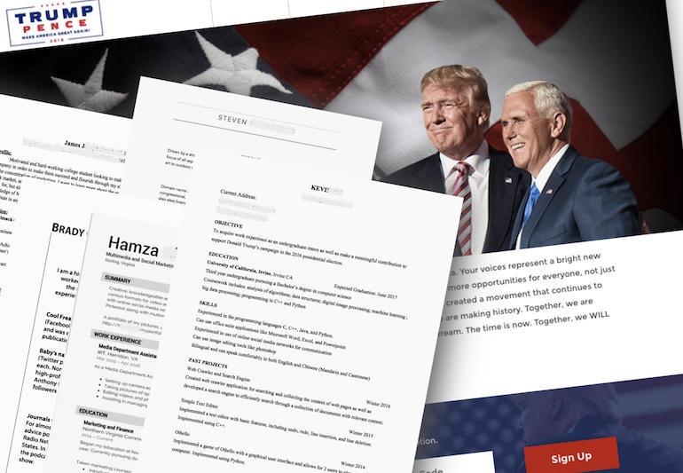 لورفتن اسامی مزدوران دونالد ترامپ از طریق وبسایت ناامن وی