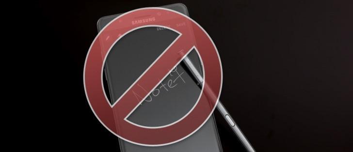 ممنوعیت استفاده از گلکسی نوت۷ در خطوط هوایی امریکا