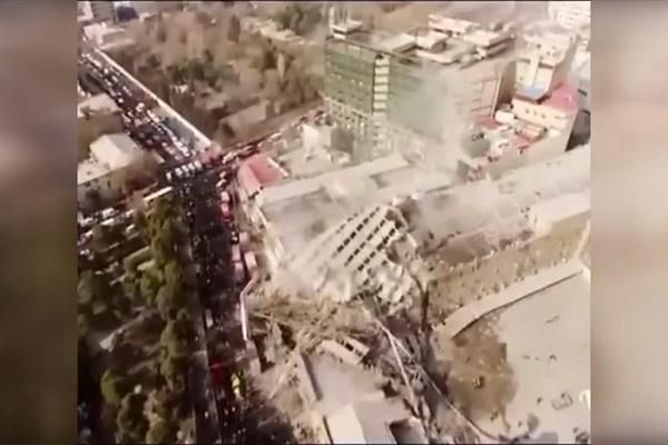 فیلم | تصاویر هوایی از ساختمان پلاسکو پس از فروریختن