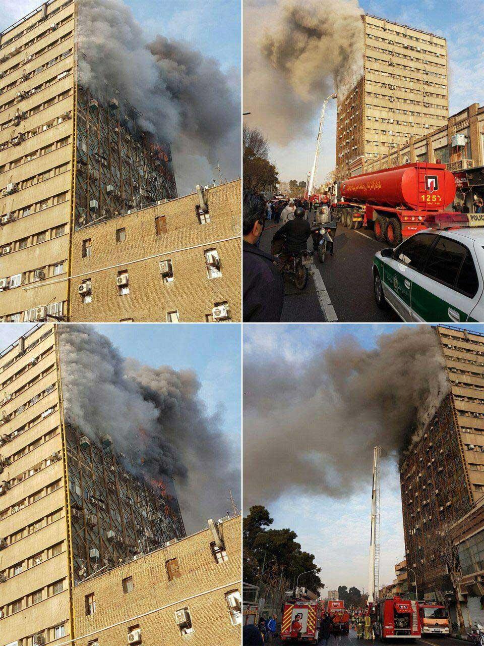 تصاویر   آتشسوزی گسترده در ساختمان پلاسکو در تهران