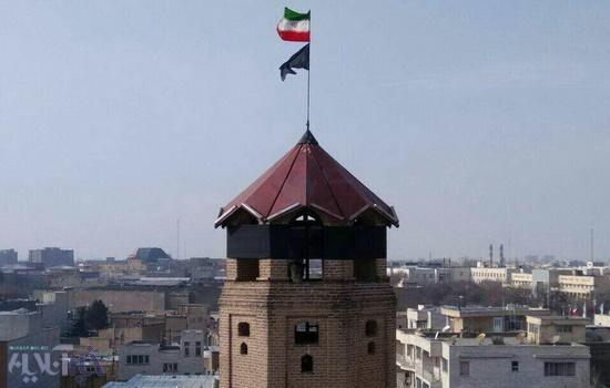 پرچم سیاه بر فراز قدیمیترین نماد آتشنشانی کشور/ برج یانقین تبریز سیاه پوشید