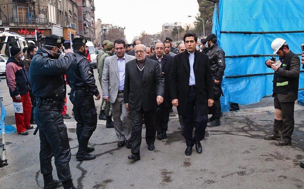 تصاویر مقامات و چهرههایی که امروز به محل حادثه پلاسکو رفتند