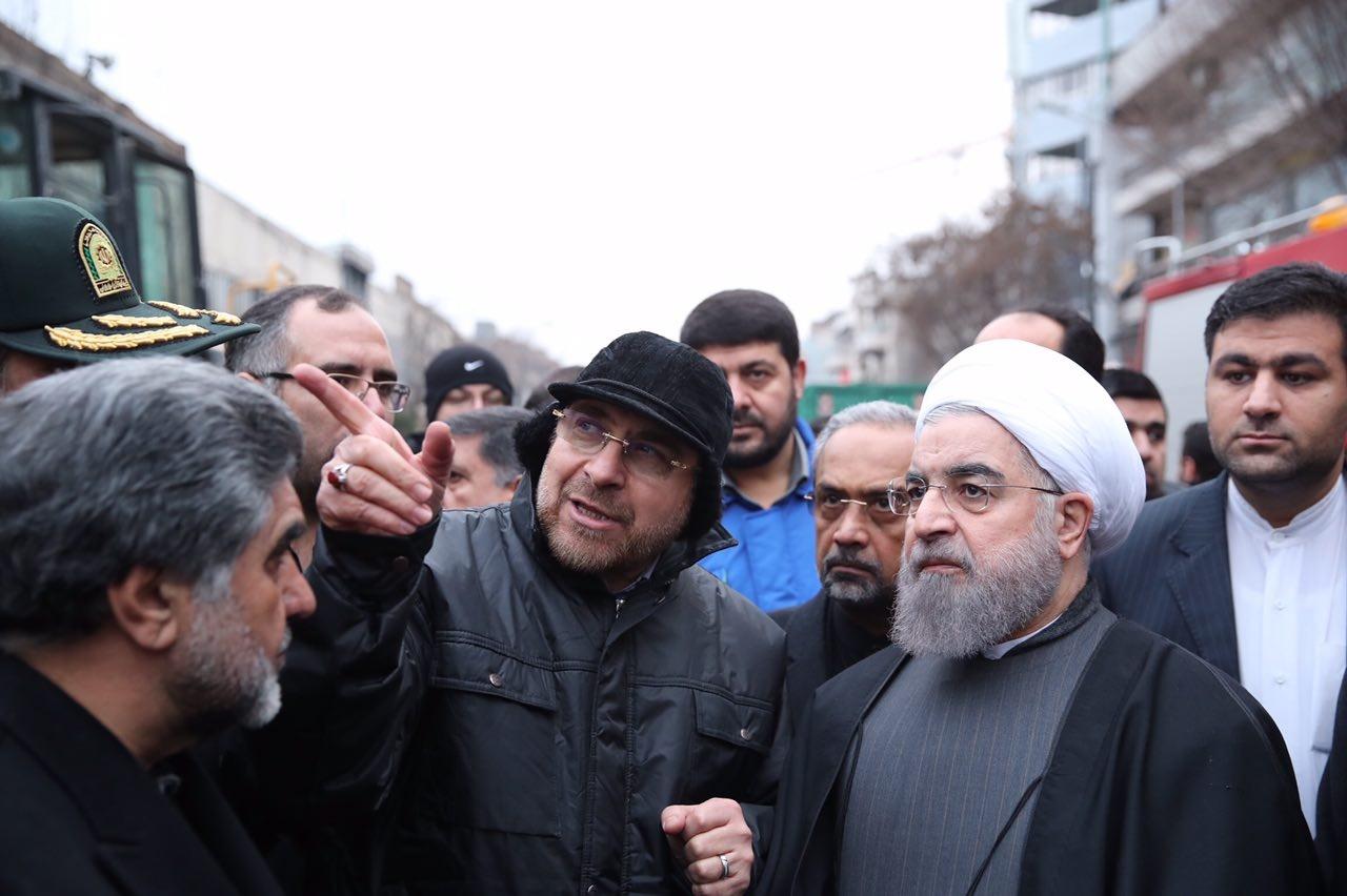 فیلم | توضیحات قالیباف به روحانی در محل حادثه پلاسکو