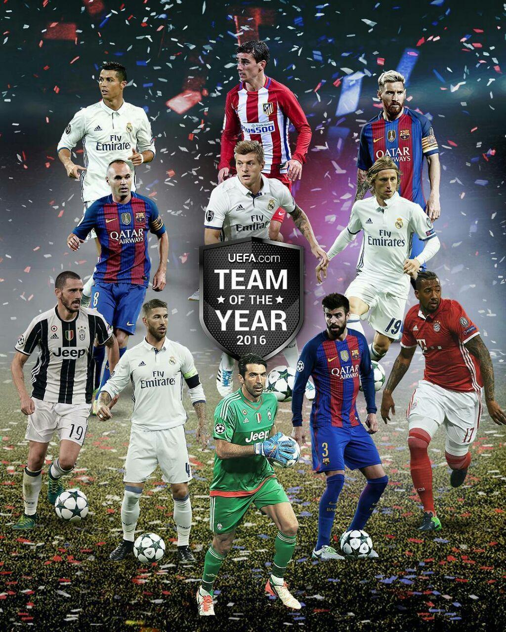 تیم منتخب سال ۲۰۱۶ از نگاه یوفا را ببینید