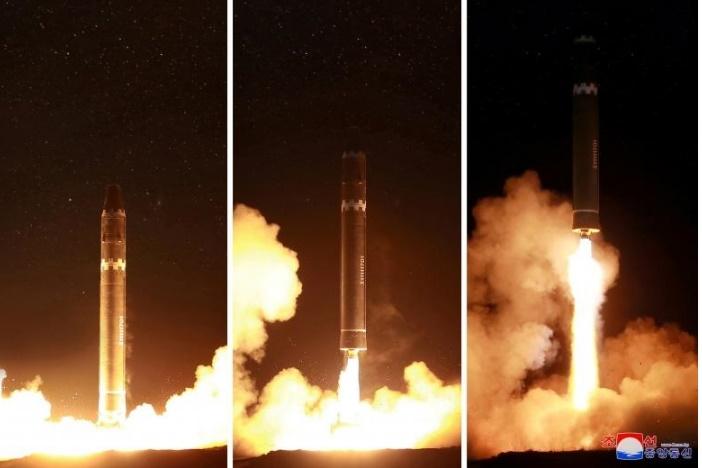 فیلم | لحظه شلیک موشک قارهپیمای «هواسانگ ۱۵» کره شمالی