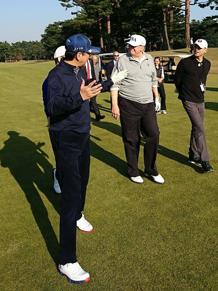 تصاویر   رقابت ترامپ و نخست وزیر ژاپن در زمین گلف