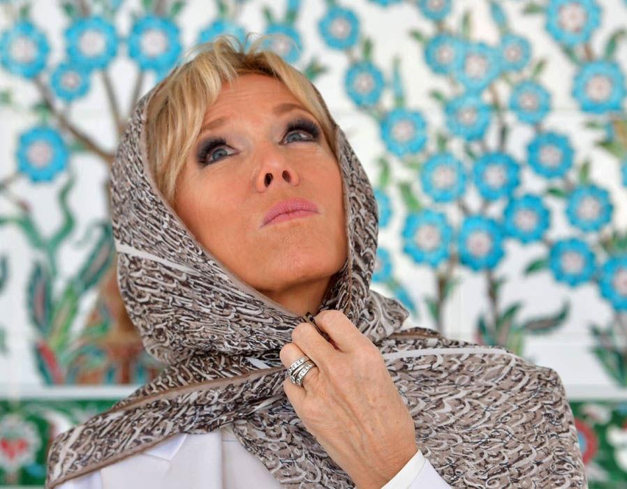 تصاویر   حجاب همسر رئیسجمهور فرانسه در بازدید از سومین مسجد بزرگ جهان