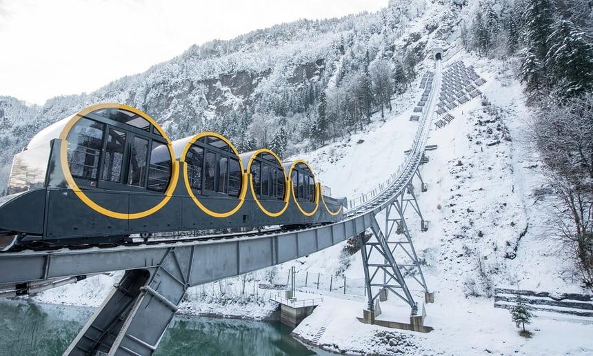 تصاویر | سریعترین قطار کابلی جهان در ارتفاعات سوئیس
