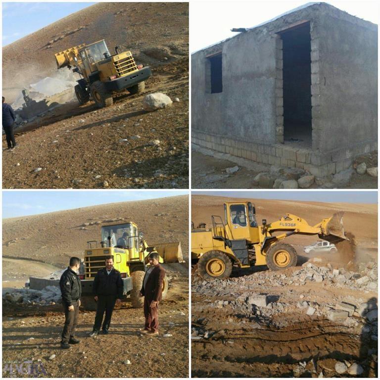 تخریب ساخت و ساز غیرمجاز در اراضی ملی خرم آباد